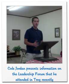 Cole Jordan presents information on the Leadership Forum that he attended in Troy recently
